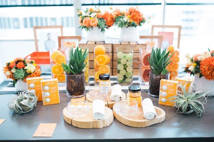 Yellow, Green and Orange party table from Modern Glam Sephora Party at Kara's Party Ideas. See all of the glorious details at karaspartyideas.com!