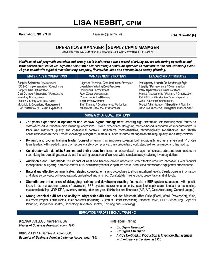 Supply Chain Management Resume 2 for Supply Chain Management Resume