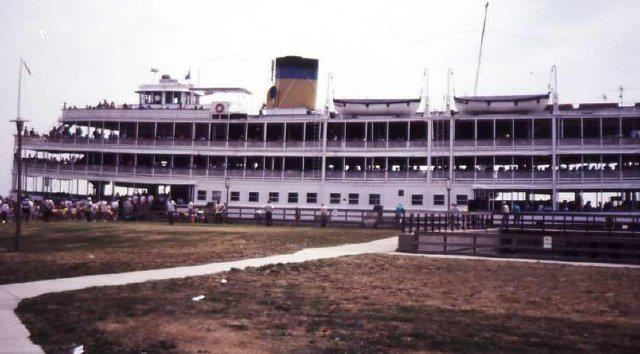 Boblo boat, docked at Wyandotte Michigan.  I remember the great trips to Boblo. Very exciting when you were a young boy. The last trip I made was to show it to my son when he was about ten,