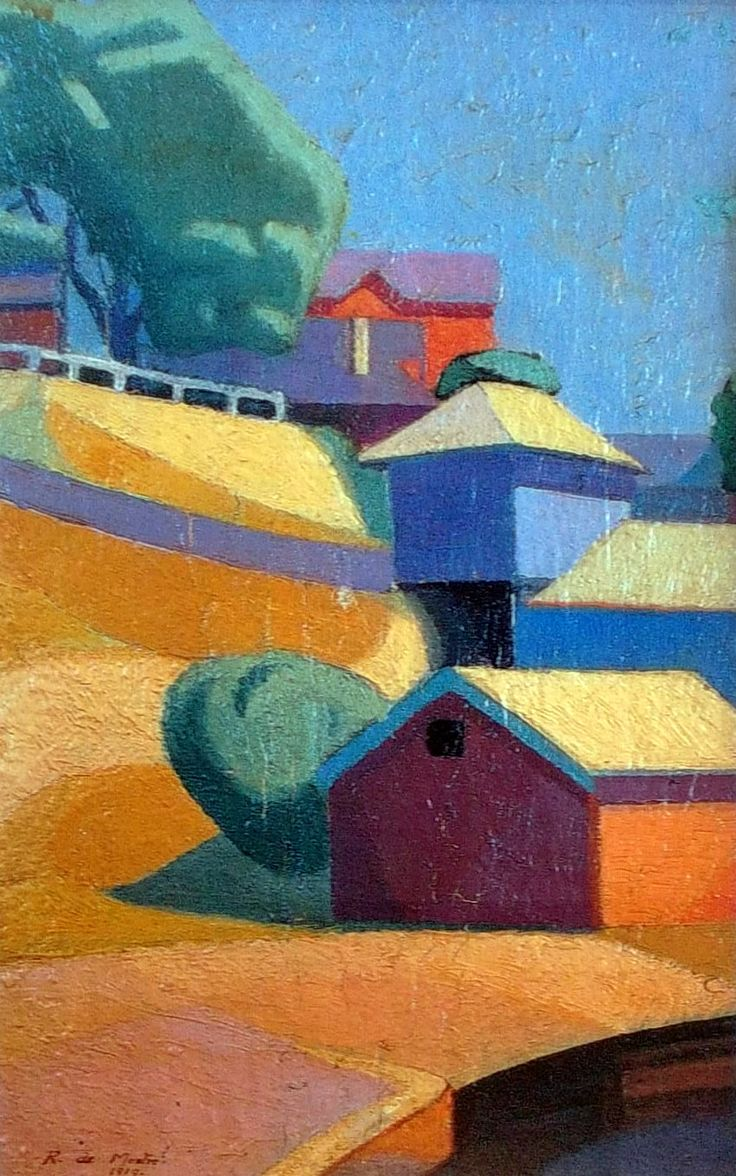 Boat Sheds, Berry's Bay (1919), oil by Roy de Maistre (This work was exhibited at the avant garde Wakelin and de Mestre show at Shaw's gallery in 1919) oil painting by Roy de Maistre Australian artist painting. I've got one of Roy's paintings on my fridge. I just love the use of shadow and colour and how everything pops
