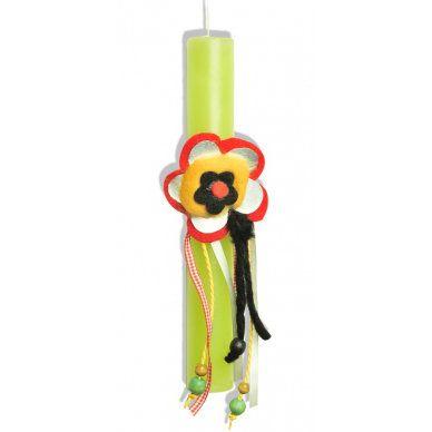Πασχαλινή Λαμπάδα με Πράσινο Κερί και Στολίδι/Καρφίτσα με Λουλούδι από Τσόχα και Μέταλλο - Sunnyside