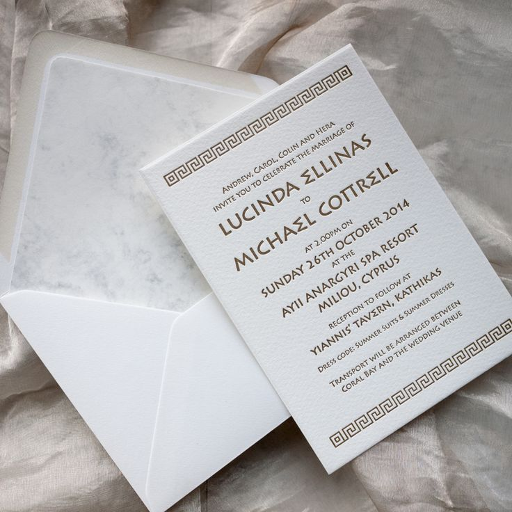 sample wedding invitation email wording to colleagues%0A Greek themed wedding invitations  letterpress  gold  white   marble   greekwedding  cyprus