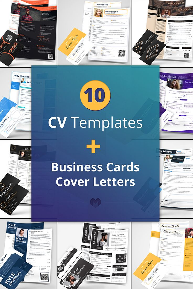Bundle of 10 Professional Ready-to-Use Layouts of CV and Resume Template