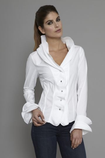 The Shirt Company | Women's Shirt and Blouse Frill Collar and Cuff White| The Shirt Company