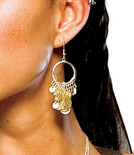 """300 Spartan Queen Coin Earrings - Become the royal Queen you were meant to be with these Spartan earrings officially licensed from the move """"300."""" Queen Gorgo was the consort of the ancient Greek city Sparta in the 5th century BC. Her husband, King Leonidas fought against the Persians in the Battle of Thermopylae.  The Spartan Queen earrings is gold in colour and have fish hook backs. #yyc #costume #jewelry"""