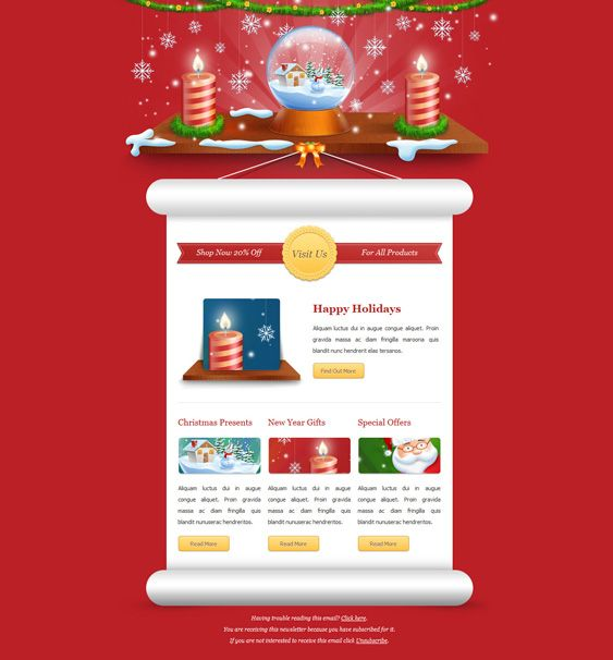 This Christmas And New Year Email Newsletter Template Features