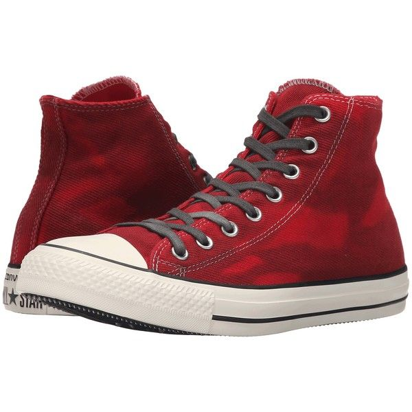 Converse Chuck Taylor All Star Hi Lace up casual Shoes (£38) ❤ liked on Polyvore featuring shoes, sneakers, red, converse trainers, metallic lace up shoes, converse sneakers, lace up sneakers and lace up shoes