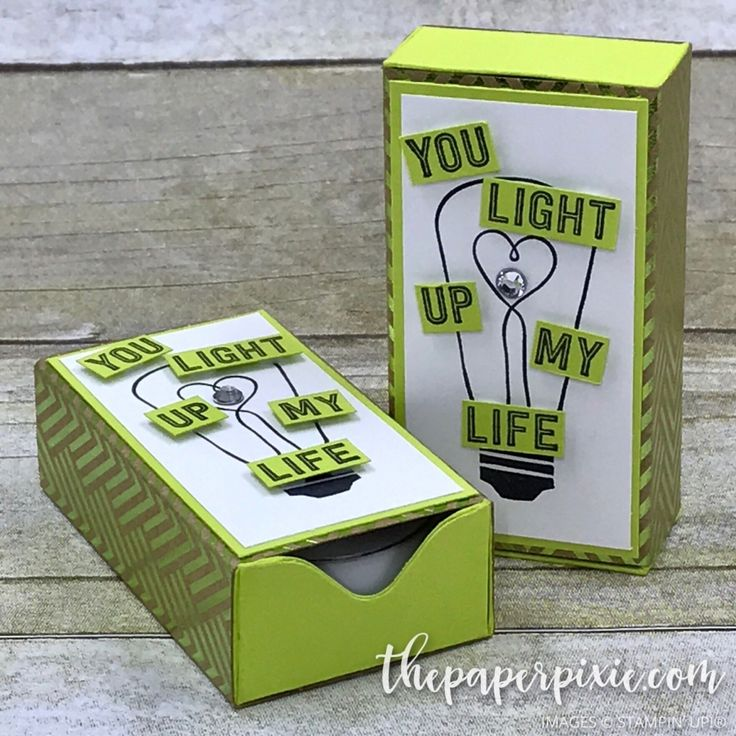Today's project is a Matchbox Tealight Holder created with the Envelope Punch Board! It features Stampin' Up!'s Watts of Occasions stamp set and Foil Frenzy Specialty Designer Series Paper. I love how this sentiment and lightbulb are a perfect match (pun intended) for a matchbox that holds tealights! And isn't the Foil Frenzy Specialty Designer…
