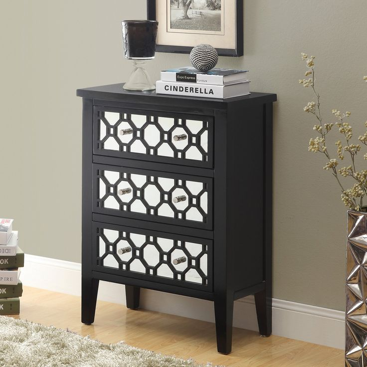 $268.13 24W x 12D Monarch I 3828 Contemporary Bombay Chest with Mirror Door - Black | from hayneedle.com
