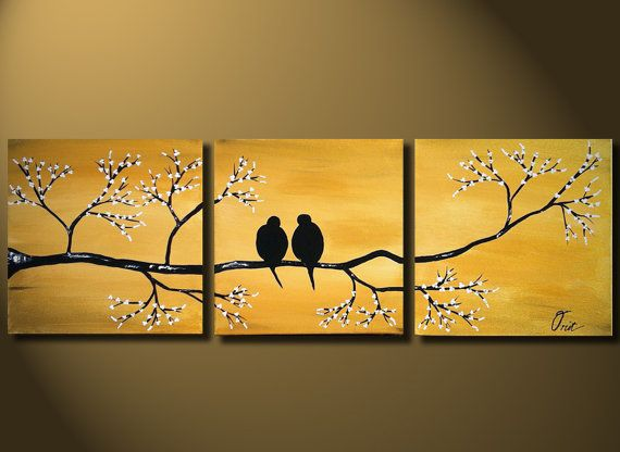 Gold Love Birds Painting, Original LARGE Canvas 36x12, Loving, Romantic, Wedding Gift, Flowers Tree Landscape, ready to hung, Metal Fine Art