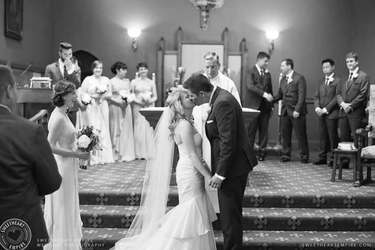 Vanessa & Mark's Oakville Golf Club Wedding — Bride and groom kiss after exchanging vows. #sweetheartempirephotography
