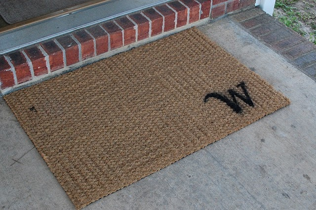 I was needing a new doormat.  What a great idea for personalizing it!