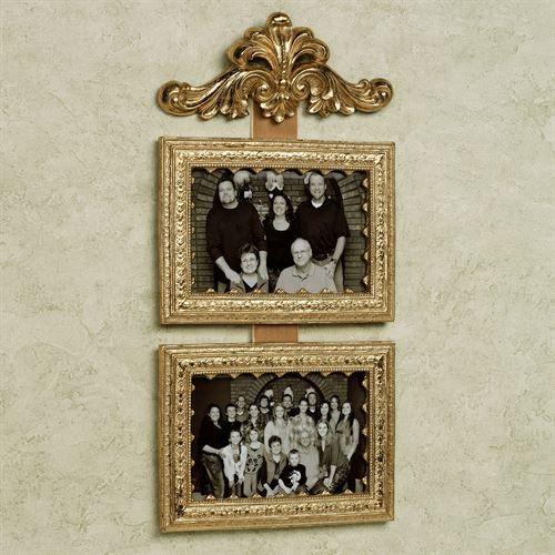 Fleur Double Photo Frame Antique Gold