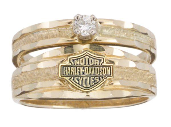 harley davidson jewelry for women | Harley-Davidson® Womens Diamond Wedding Yellow Gold 10K Diamond Ring ...
