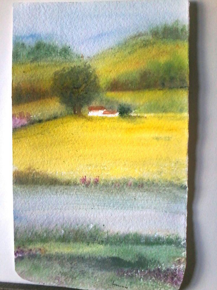 Land in yellow. Waterpeint