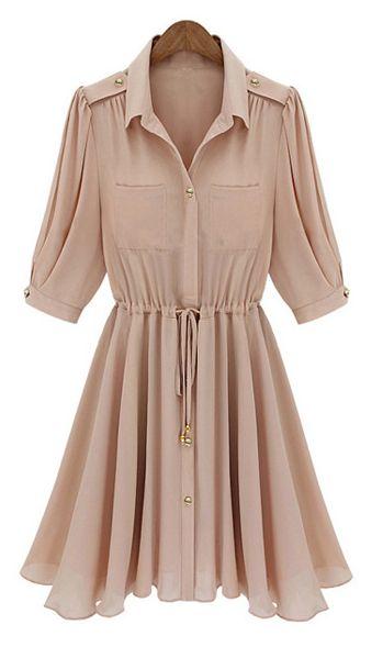 Single-Breasted Elastic Waist Drawstring Half Sleeves Chiffon Dress   dresslily.com