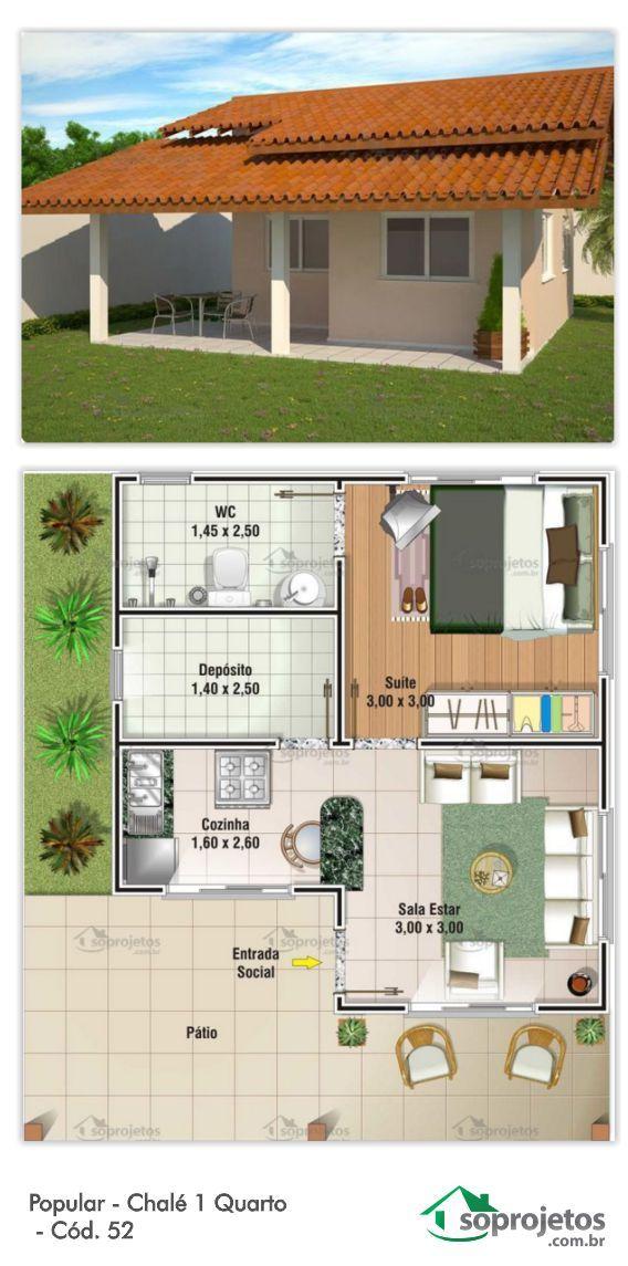 49,50 METROS QUADRADOS. Perfeito para lugares pequenos e ediculas. Residência de 1 dormitório, contém sala de estar e cozinha americana.