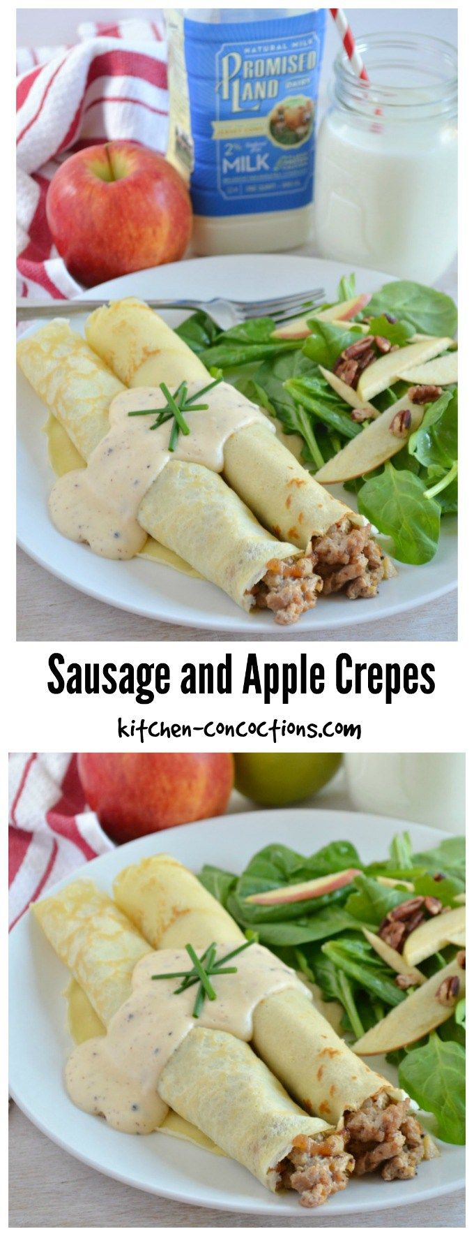 Sausage and Apple Crepes - Try this savory crepe recipe for your next weekend brunch! This Sausage and Apple Crepe recipe is packed with fall flavors and finished off with a creamy cheese sauce. It is perfect for breakfast or even dinner! {AD} #FarFromOrdinaryMilk #CollectiveBias