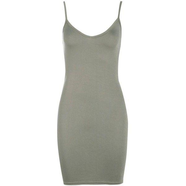 Boohoo Petite Maisy Basic V Neck Bodycon Dress | Boohoo ($8) ❤ liked on Polyvore featuring dresses, green dress, boohoo dresses, petite dresses, body conscious dress and bodycon dress