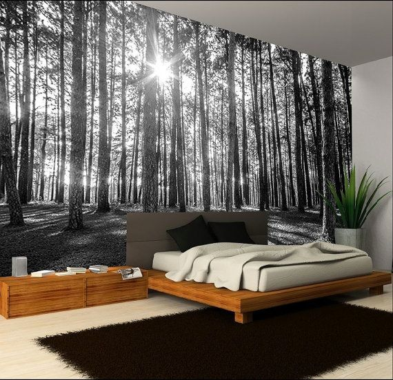 Photo Wallpaper Wall Murals Black And White Forest Trees Wall Decals ...