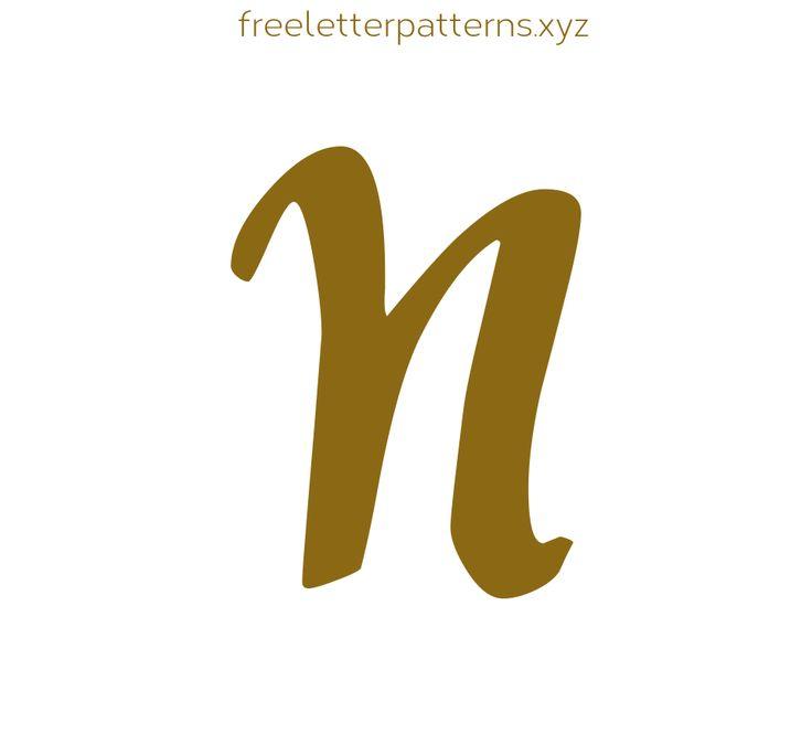 Applique Lettering Pattern for Free Fancy Cursive N