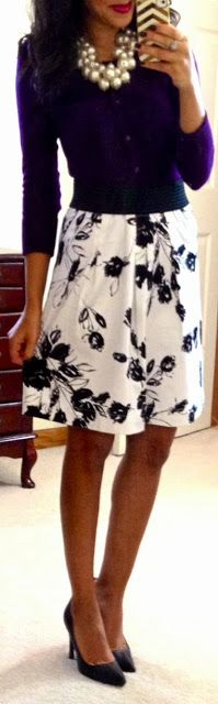 Hello, Gorgeous! Purple cardi, black & white floral skirt, black pumps, black belt, pearl cluster necklace