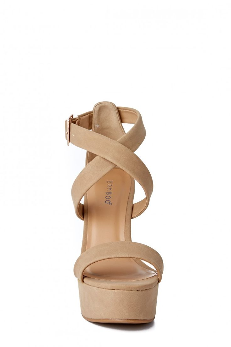 Downtown Ready Nude Wedges at reddressboutique.com