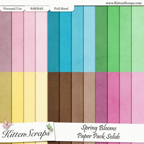 Spring Blooms Paper Pack-Solids  created by KittenScraps, Digital Scrapbooking