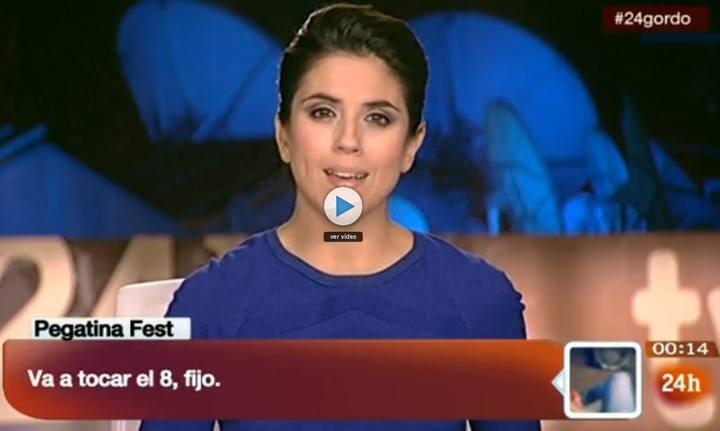 Anoche en el informativo, La noche en 24 horas, la telespectadora 'Pegatina Fest' escribió: 'va a tocar el 8, fijo' acertó de pleno... #LoteriaRTVE