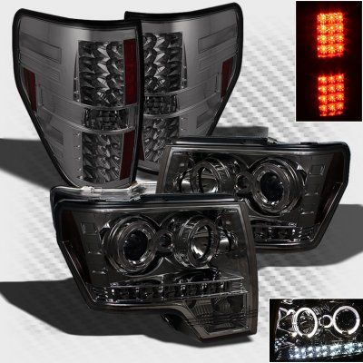 Ford F150 2009-2014 Smoked Projector Headlights and LED Tail Lights | A1036IOZ213 - TopGearAutosport
