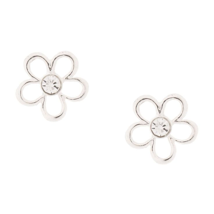 Sterling Silver Crystal Flower Stud Earrings | Add pretty floral shine to your ears with these dainty sterling silver flower stud earrings featuring a tiny crystal in the center.