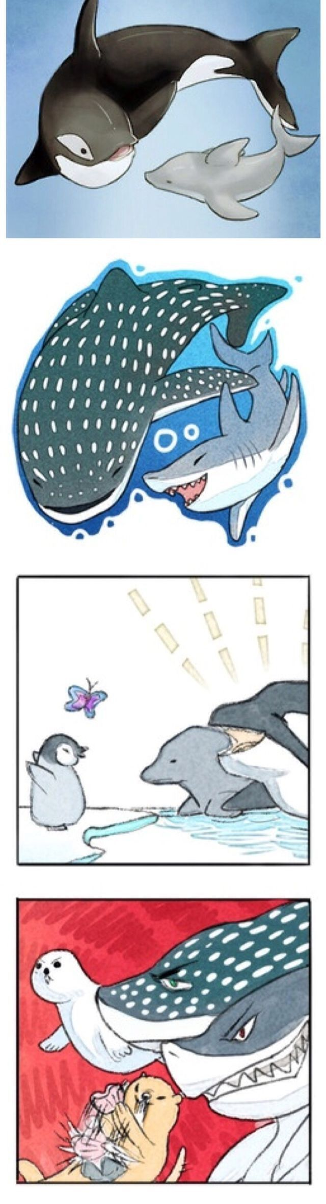 Sousuke as spotted shark thing rin as shark, momo is idk haru is dolphin makoto is killer whale nagisa as penguin rei as butterfly and nitori as seal?