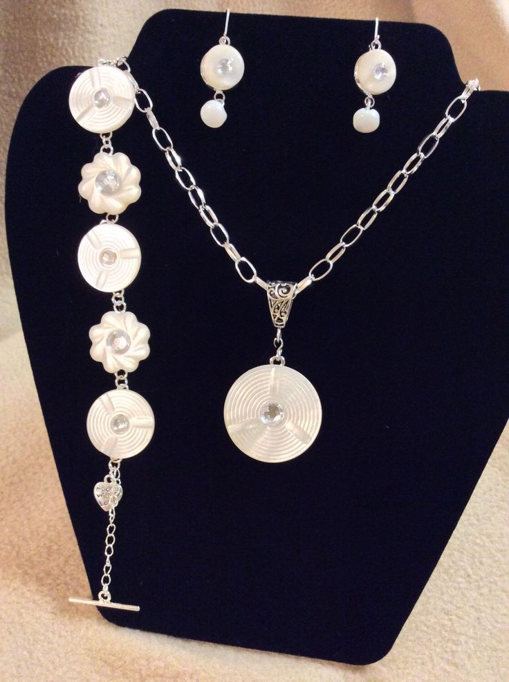 Beautiful Antique Carved Mother of Pearl Button Jewelry! One of a kind! Includes neckless, lever back earrings & bracelet. by SusansButtonCreation on Etsy https://www.etsy.com/listing/262769143/beautiful-antique-carved-mother-of-pearl