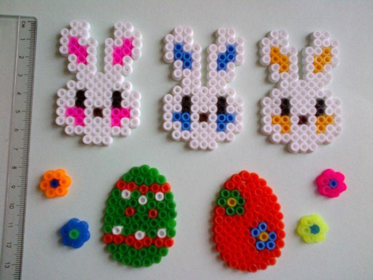 Easter Decorations Set - bunny, flowers, egg - hama perler beads - handmade