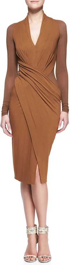 Donna Karan Cool Jersey Draped Long-Sleeve Dress on shopstyle.com