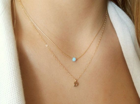 Set of 2 Necklaces; Initial Necklace & Opal Necklace; Personalized Gold Necklace Set; Delicate Gold Necklace Set; Personalized Gift For Her