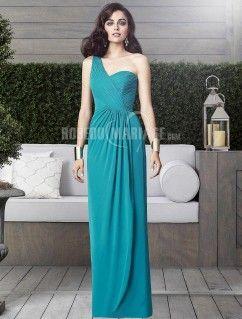 Epaule asymétrique robe demoiselle d'honneur chiffon robe sur mesure