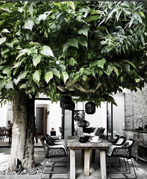 30 Amazing Black And White Outdoor Spaces : 30 Amazing Black And White Outdoor Spaces With Black Lantern And Outdoor Kitchen Design