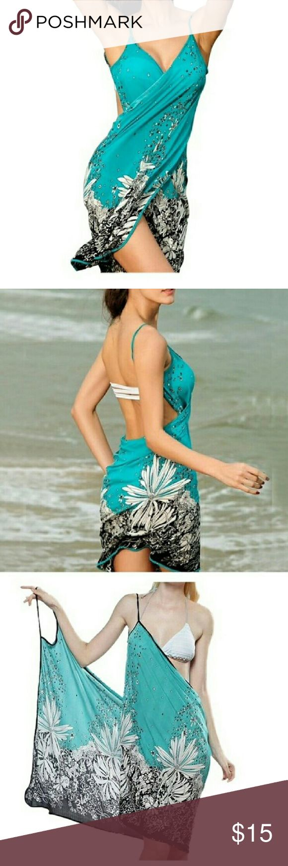 Bikini cover up swimwear This is a swimsuit cover up. Open back with shoulder straps. Swim Coverups