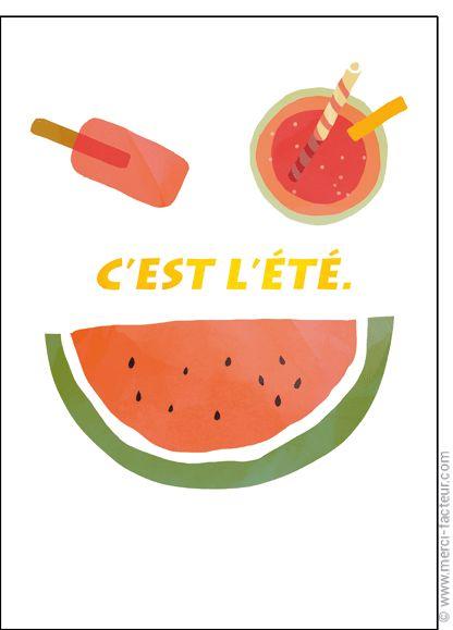 #carte #aout #vacances #piscine #plage #voyage #tourisme #relax #repos #soleil  #été #fruit  Carte Smiley d'�t� pour envoyer par La Poste, sur Merci-Facteur !
