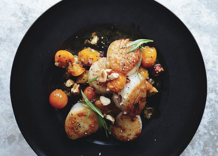 Scallops with Hazelnuts and Warm Sun Gold Tomatoes Recipe - Bon Appétit - looks reeeally yummy. wondering if it would be good w/ walnuts instead of hazelnuts??