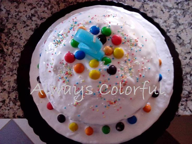 Corante, Cobertura Marshmallow, bimbices, Bimby, bolo arco-íris, bolo de aniversário, bolo de aniversário arco-íris, M&M's,