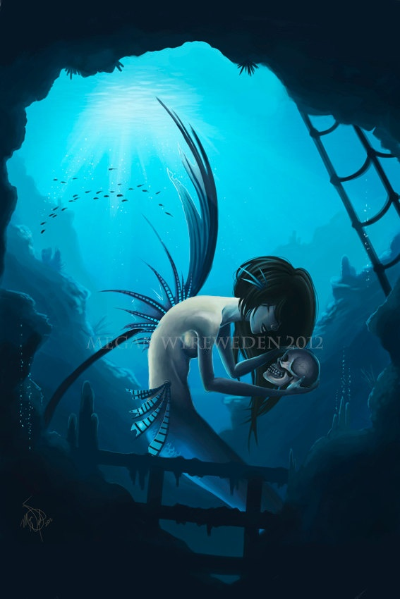 Dark Mermaid Art Amazing Etsy artist an...