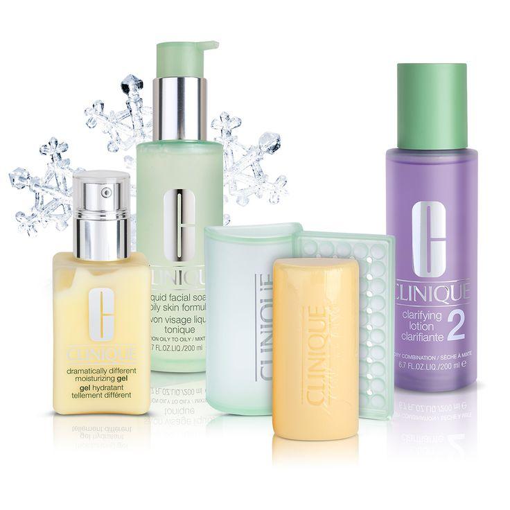 3 pași pentru o piele perfectă: curățare, exfoliere, hidratare. Clinique a creat pentru toate tipurile de ten o gamă de produse ce acționează în 3 pași.