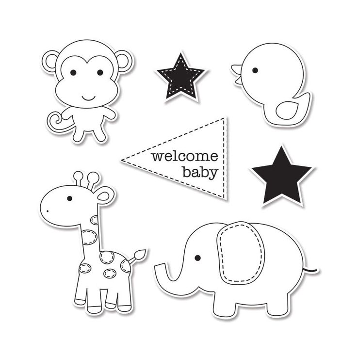 Sizzix - Doodlebug - Framelits - Die Cutting Template and Clear Acrylic Stamp Set - Baby Boy at Scrapbook.com