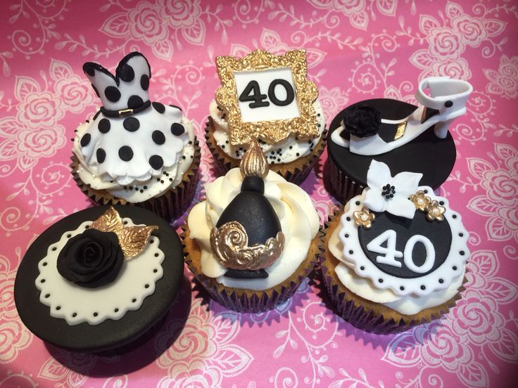 Black & White Boudoir 40th Birthday Cupcakes