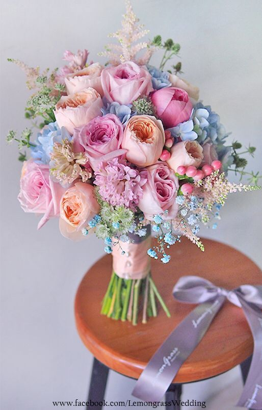 Gorgeous Pink Peach And Blue Bridal Bouquet Flowers With Something In For The