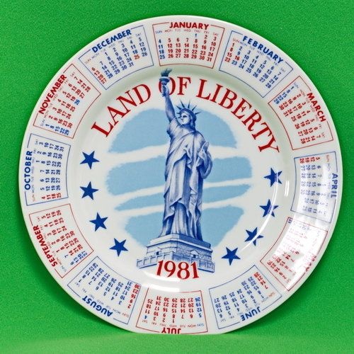 Vintage 1981 Patriotic Calendar Collector Plate From Spencer Gifts