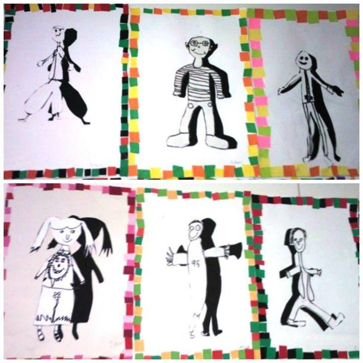 Ensin piirrettiin oma kuva A4-paperille, vahvistettiin tussilla ja leikattiin irti. Samankokoiselle mustalle paperille jäljennettiin ääriviivat ja leikattiin. Liimattiin A3-paperille siten, että varjo on hieman erillään omasta kuvasta. Väripapereista leikattiin pikku paloja, joita liimattiin työhön kehykseksi.