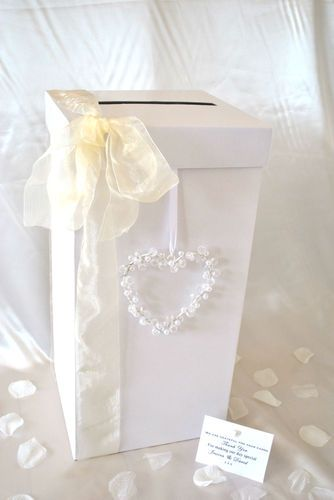 Personalised Wedding Card Receiving Post Box + Pearl Heart + Ribbon + 3 Sizes | eBay
